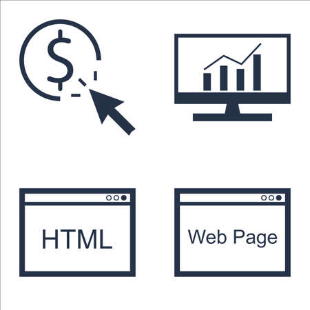 comprehensive: Set Of SEO, Marketing And Advertising Icons On Web Page, Comprehensive Analytics, Html Code And More.