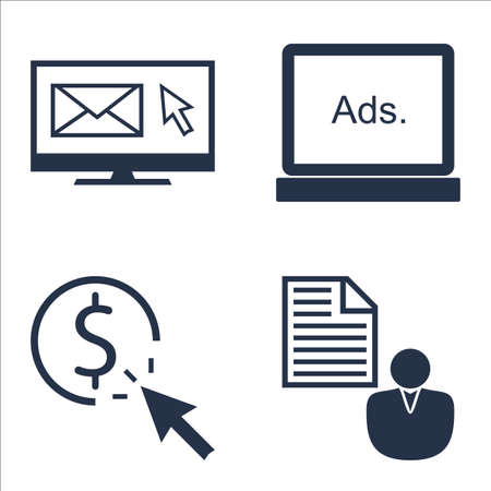 brief: Set Of SEO, Marketing And Advertising Icons On Pay Per Click, Display Advertising, Client Brief And More.