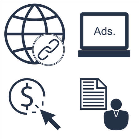 brief: Set Of SEO, Marketing And Advertising Icons On Client Brief, Link BUIlding, Display Advertising And More.