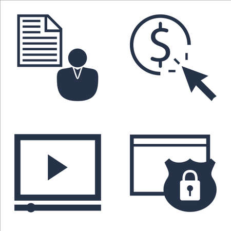 brief: Set Of SEO, Marketing And Advertising Icons On Video Advertising, Client Brief, Website Protection And More.
