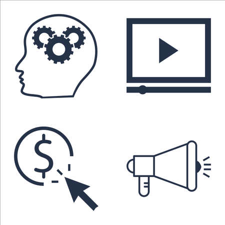 per: Set Of SEO, Marketing And Advertising Icons On Creativity, Video Advertising, Pay Per Click And More.