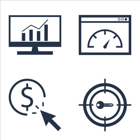 comprehensive: Set Of SEO, Marketing And Advertising Icons On Comprehensive Analytics, Pay Per Click, Page Speed And More.