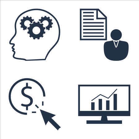 comprehensive: Set Of SEO, Marketing And Advertising Icons On Comprehensive Analytics, Client Brief, Pay Per Click And More.