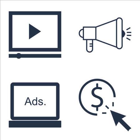 Set SEO, marketing en reclame-iconen op virale marketing, pay per click, display reclame en meer. Vector Illustratie