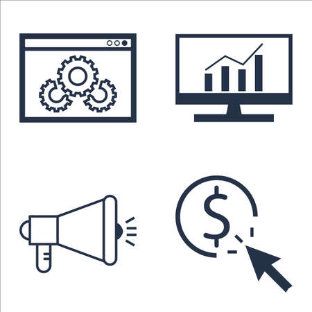 per: Set Of SEO, Marketing And Advertising Icons On Viral Marketing, Pay Per Click, Comprehensive Analytics And More.