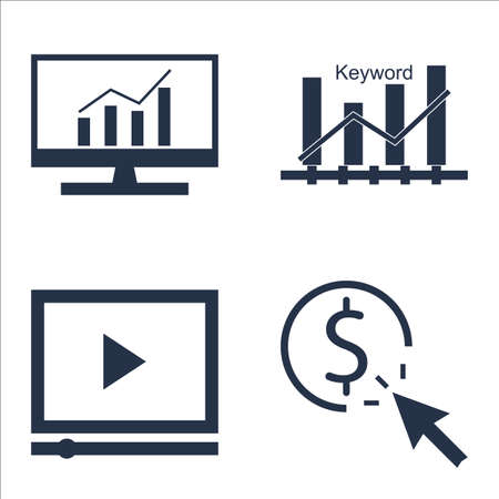 comprehensive: Set Of SEO, Marketing And Advertising Icons On Video Advertising, Pay Per Click, Comprehensive Analytics And More.