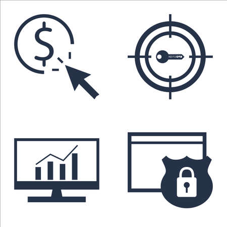 comprehensive: Set Of SEO, Marketing And Advertising Icons On Comprehensive Analytics, Website Protection, Pay Per Click And More. Illustration