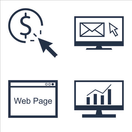 comprehensive: Set Of SEO, Marketing And Advertising Icons On Web Page, Comprehensive Analytics, Pay Per Click And More.