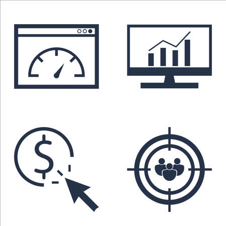 targeting: Set Of SEO, Marketing And Advertising Icons On Comprehensive Analytics, Audience Targeting, Page Speed And More.