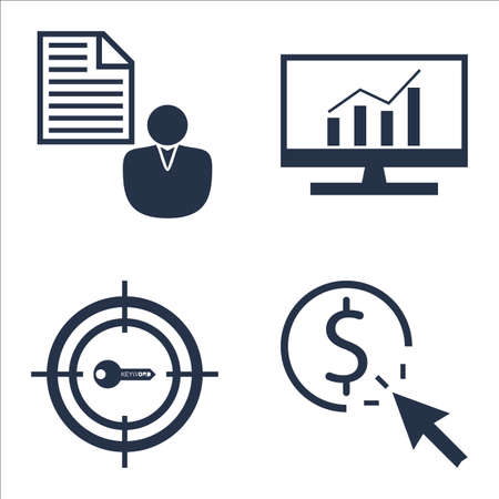 comprehensive: Set Of SEO, Marketing And Advertising Icons On Pay Per Click, Comprehensive Analytics, Client Brief And More. Illustration