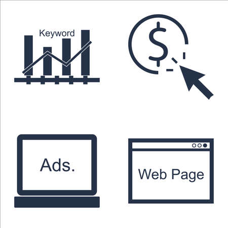 page rank: Set Of SEO, Marketing And Advertising Icons On Web Page, Keyword Ranking, Display Advertising And More.