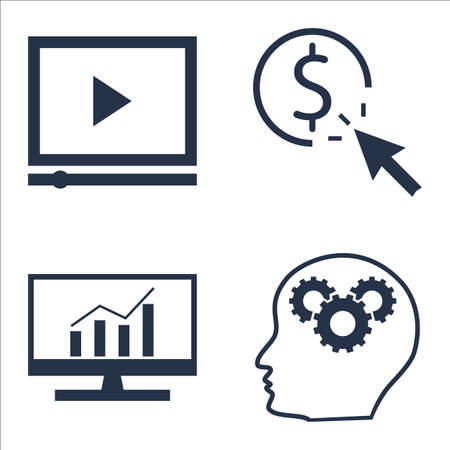 comprehensive: Set Of SEO, Marketing And Advertising Icons On Creativity, Pay Per Click, Comprehensive Analytics And More.