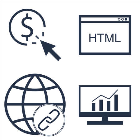 comprehensive: Set Of SEO, Marketing And Advertising Icons On Html Code, Link BUIlding, Comprehensive Analytics And More. Illustration