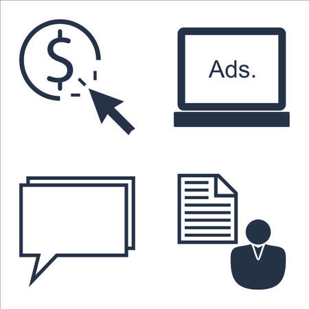 brief: Set Of SEO, Marketing And Advertising Icons On Online Consulting, Client Brief, Pay Per Click And More.