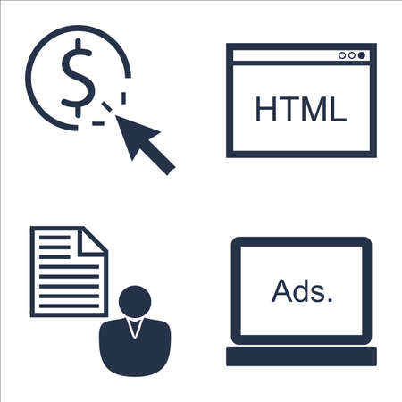 brief: Set Of SEO, Marketing And Advertising Icons On Display Advertising, Pay Per Click, Client Brief And More.