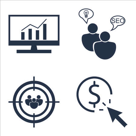 comprehensive: Set Of SEO, Marketing And Advertising Icons On Comprehensive Analytics, Audience Targeting, SEO Consulting And More.