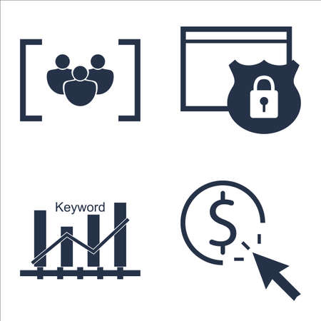 keyword: Set Of SEO, Marketing And Advertising Icons On Keyword Ranking, Focus Group, Website Protection And More.