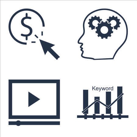 keyword: Set Of SEO, Marketing And Advertising Icons On Video Advertising, Keyword Ranking, Creativity And More.