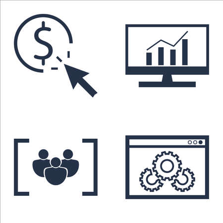 comprehensive: Set Of SEO, Marketing And Advertising Icons On Focus Group, Comprehensive Analytics, Pay Per Click And More. Illustration