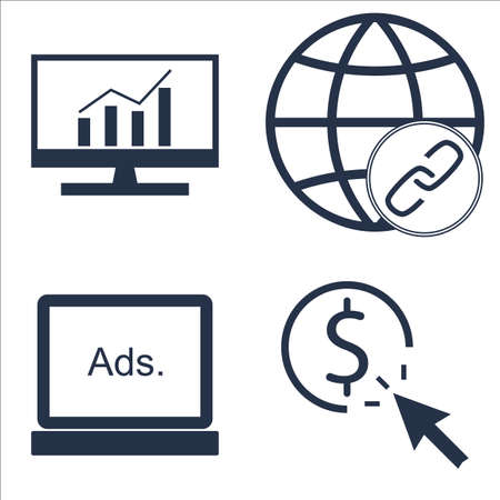 comprehensive: Set Of SEO, Marketing And Advertising Icons On Comprehensive Analytics, Pay Per Click, Display Advertising And More. Illustration