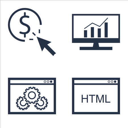 per: Set Of SEO, Marketing And Advertising Icons On Html Code, Pay Per Click, Comprehensive Analytics And More.