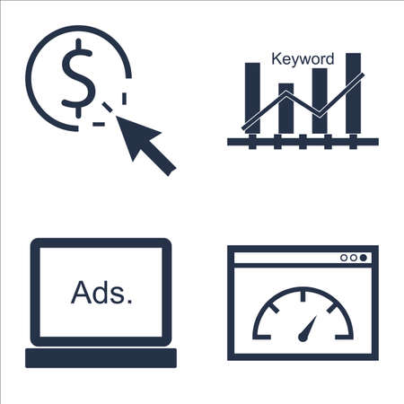 page rank: Set Of SEO, Marketing And Advertising Icons On Display Advertising, Page Speed, Pay Per Click And More.