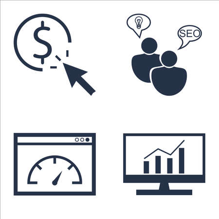 comprehensive: Set Of SEO, Marketing And Advertising Icons On Page Speed, SEO Consulting, Comprehensive Analytics And More.