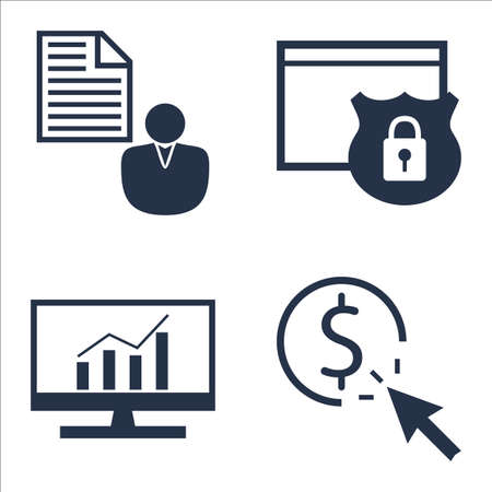 comprehensive: Set Of SEO, Marketing And Advertising Icons On Client Brief, Comprehensive Analytics, Website Protection And More. Illustration