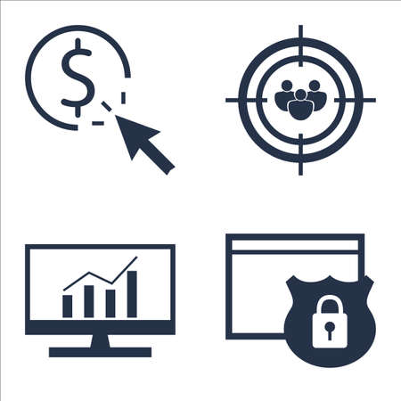 comprehensive: Set Of SEO, Marketing And Advertising Icons On Audience Targeting, Website Protection, Comprehensive Analytics And More.