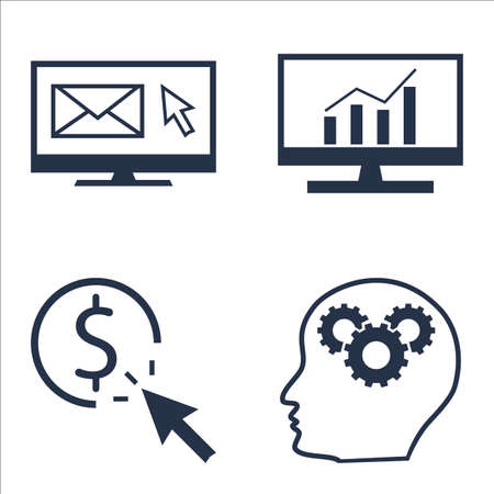 comprehensive: Set Of SEO, Marketing And Advertising Icons On Pay Per Click, Comprehensive Analytics, EmAIl Marketing And More.