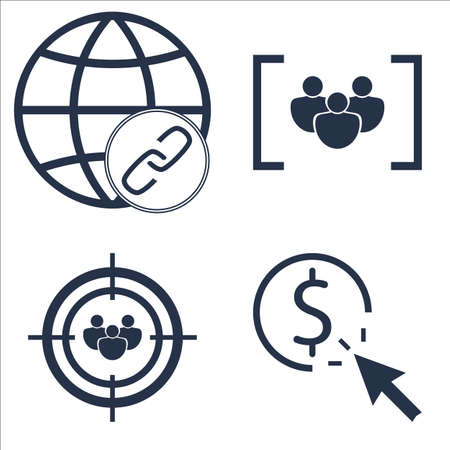 targeting: Set Of SEO, Marketing And Advertising Icons On Focus Group, Audience Targeting, Link BUIlding And More. Illustration