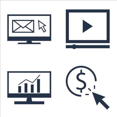comprehensive: Set Of SEO, Marketing And Advertising Icons On Pay Per Click, EmAIl Marketing, Comprehensive Analytics And More.