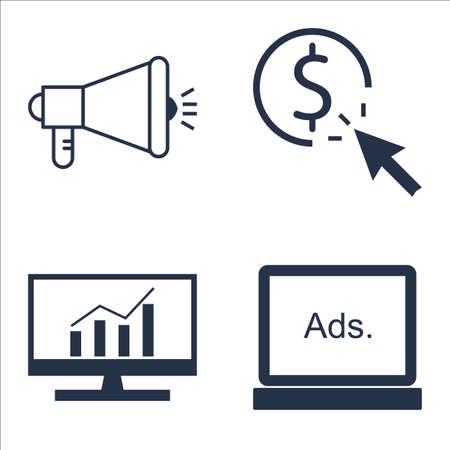 comprehensive: Set Of SEO, Marketing And Advertising Icons On Pay Per Click, Display Advertising, Comprehensive Analytics And More. Illustration