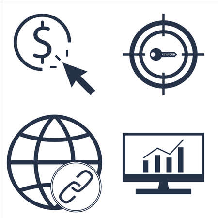 comprehensive: Set Of SEO, Marketing And Advertising Icons On Link BUIlding, Pay Per Click, Comprehensive Analytics And More. Illustration