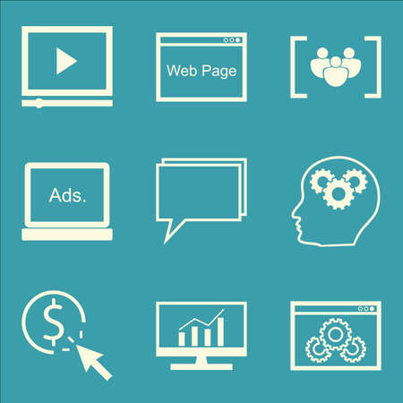 comprehensive: Set Of SEO, Marketing And Advertising Icons On Website Optimization, Creativity, Comprehensive Analytics And More. Premium Quality EPS10 Vector Illustration For Mobile, App, UI Design. Illustration