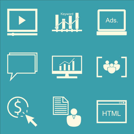 comprehensive: Set Of SEO, Marketing And Advertising Icons On Display Advertising, Html Code, Comprehensive Analytics And More. Premium Quality EPS10 Vector Illustration For Mobile, App, UI Design. Illustration