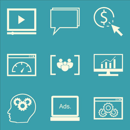 comprehensive: Set Of SEO, Marketing And Advertising Icons On Comprehensive Analytics, Pay Per Click, Video Advertising And More. Premium Quality EPS10 Vector Illustration For Mobile, App, UI Design.