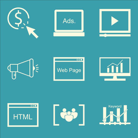 keyword: Set Of SEO, Marketing And Advertising Icons On Comprehensive Analytics, Display Advertising, Keyword Ranking And More. Premium Quality EPS10 Vector Illustration For Mobile, App, UI Design.