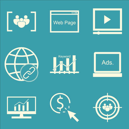 comprehensive: Set Of SEO, Marketing And Advertising Icons On Focus Group, Audience Targeting, Comprehensive Analytics And More. Premium Quality EPS10 Vector Illustration For Mobile, App, UI Design. Illustration