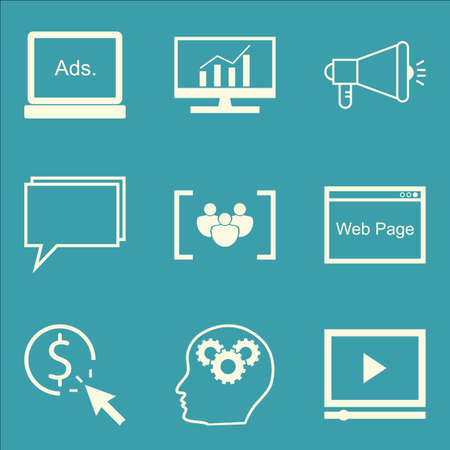 comprehensive: Set Of SEO, Marketing And Advertising Icons On Comprehensive Analytics, Online Consulting, Video Advertising And More. Premium Quality EPS10 Vector Illustration For Mobile, App, UI Design.