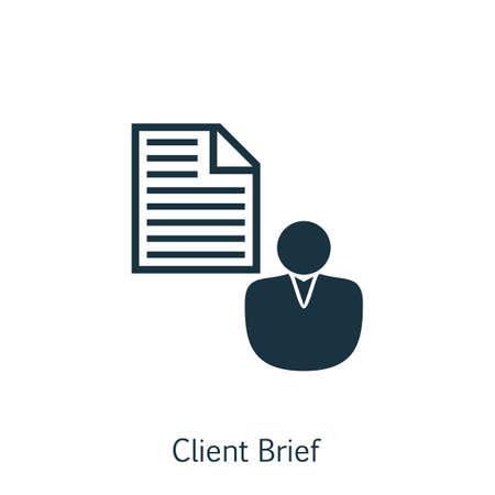 Illustration vectorielle de SEO, marketing et publicité icône sur client bref dans un plat style branché. SEO, Marketing et publicité isolé icône pour Web, Mobile et infographie Design, EPS10.