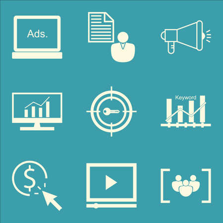 comprehensive: Set Of SEO, Marketing And Advertising Icons On Comprehensive Analytics, Pay Per Click, Viral Marketing And More. Premium Quality EPS10 Vector Illustration For Mobile, App, UI Design. Illustration