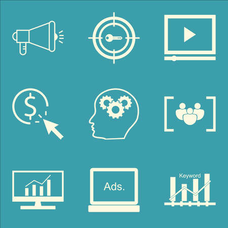 comprehensive: Set Of SEO, Marketing And Advertising Icons On Display Advertising, Viral Marketing, Comprehensive Analytics And More. Premium Quality EPS10 Vector Illustration For Mobile, App, UI Design.