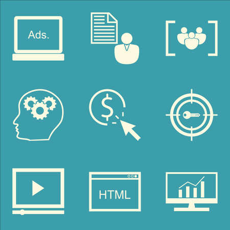 brief: Set Of SEO, Marketing And Advertising Icons On Video Advertising, Focus Group, Client Brief And More. Premium Quality EPS10 Vector Illustration For Mobile, App, UI Design. Illustration