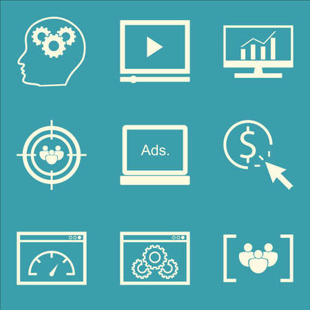 targeting: Set Of SEO, Marketing And Advertising Icons On Comprehensive Analytics, Audience Targeting, Page Speed And More. Premium Quality EPS10 Vector Illustration For Mobile, App, UI Design. Illustration