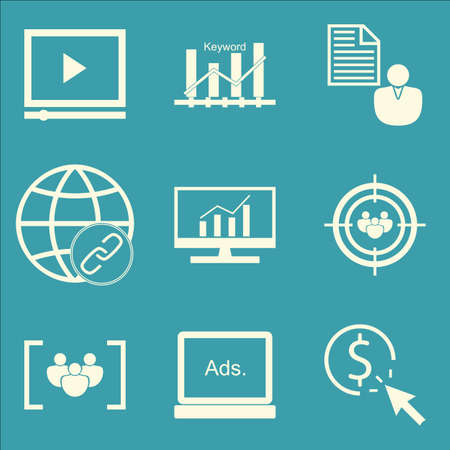 targeting: Set Of SEO, Marketing And Advertising Icons On Audience Targeting, Client Brief, Comprehensive Analytics And More. Premium Quality EPS10 Vector Illustration For Mobile, App, UI Design.