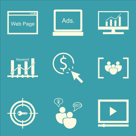 page rank: Set Of SEO, Marketing And Advertising Icons On Video Advertising, Focus Group, Comprehensive Analytics And More. Premium Quality EPS10 Vector Illustration For Mobile, App, UI Design.