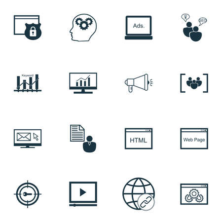 keyword: Set Of SEO, Marketing And Advertising Icons On Keyword Optimisation, Digital Media, Questionnaire And More. Includes Digital Media, Keyword Marketing, Security And Other Vector Icons. Illustration