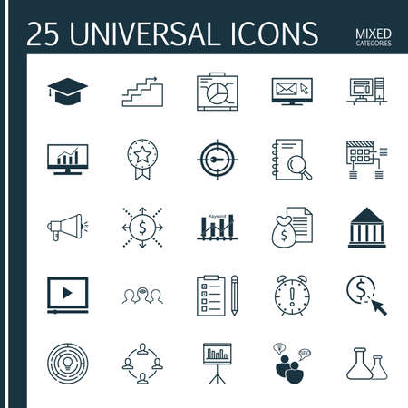 optimisation: Set Of 25 Universal Icons On Coaching, Keyword Optimisation, Present Badge And More Topics. Vector Icon Set Including Graduation, Presentation, Collaboration And Other Icons.