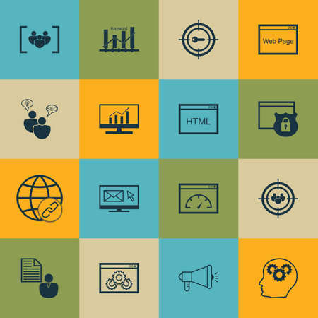 idea icon: Set Of 16 Universal Icons On Newsletter, Report, SEO Brainstorm And More Topics. Vector Icon Set Including Market Research, Media Campaign, Connectivity And Other Icons.
